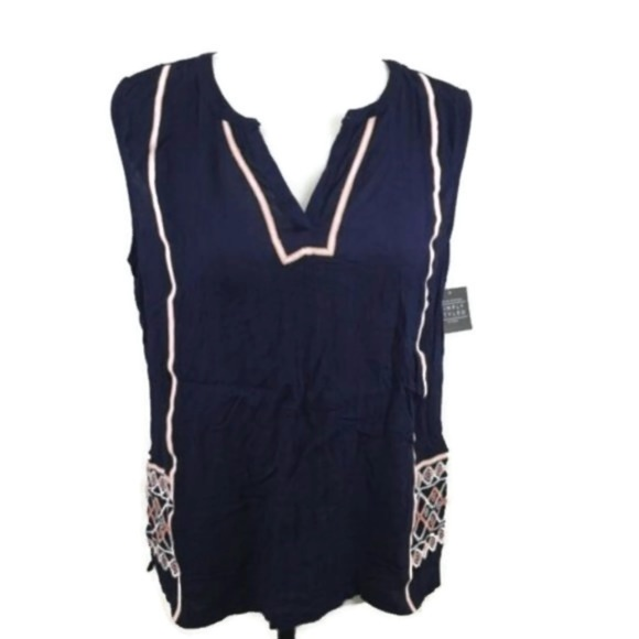 Simply Styled Tops - Simply Styled Sleeveless Embroidered Top Sz L Navy